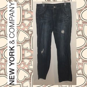 NY & Co Distressed Straight Leg Jeans